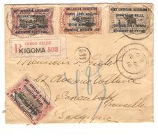 PR7024/ TP 28(2)-29-31(déf)-32-33-34-35 S/L.recommandée C.Kigoma 1918 + étiquette Recom Congo Belge Kigoma V.Schaerbeek - Ruanda-Urundi