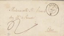 LETTRE. SUISSE. 4 MAI 1842. MORGES POUR ETOIS  ETOY, PAR AUBONNE. TAXE PLUME 2. ECRITURE ALLEMAND GOTHIQUE. - ...-1845 Prephilately