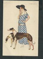 Illustrateur Nanni, Femme Au Chien Levrier. Woman With A Greyhound Dog. - Nanni