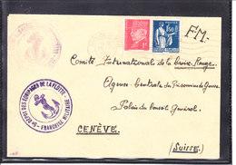 """LETTRE POUR LA CROIX ROUGE - 1941 - FM - CACHET """" 5E DEPOT DES EQUIPAGES DE LA FLOTTE - TOULON 1941 - Wars"""