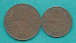 George V - ½ Penny - 1918 (KM22) & 1 Penny - 1922 (KM23) - Monnaie Pré-décimale (1910-1965)