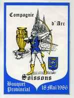 SOISSONS COMPAGNIE D'ARC - ARCHER - BOUQUET PROVINCIAL 1986 - Autocollants