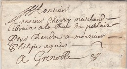 LETTRE PORTEUR. 1691 SANSON POUR GRENOBLE - Marcophilie (Lettres)