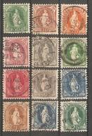 12 Timbres Suisse ( Helvétie Debout  ) - 1882-1906 Armoiries, Helvetia Debout & UPU