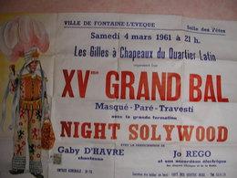 Fontaine L'évèque Affiche 1961 Bal Gilles à Chapeaux Du Quartier Latin 15 ème Bal - Affiches