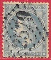France N°29B Napoléon 20c Bleu (GC 2579 Munster) 1867-68 O - 1863-1870 Napoléon III. Laure