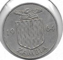 *zambia 1 SHILLING 1964 Km 2  VF+ - Zambie