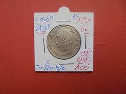 CONGO BELGE 1 FRANC 1920 VL TTB (TRES RARE !!!) - 1910-1934: Albert I
