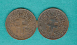 """French - 1943 - 1 Franc - With """"libre"""" (KM5) & Without (KM7) - Cameroun"""