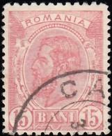 ROMANIA - Scott #124 King Carol I 'Wmk. 164' / Used Stamp - 1881-1918: Charles I