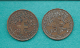 """French - 1943 - 50 Centimes - With """"libre"""" (KM4) & Without (KM6) - Cameroun"""