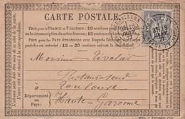 Yvert 77 Sage Sur Entier Carte Précurseur Entête Rondeau Chocolat VERSAILLES 18/1/1877 Pour Tivolier Restaurant Toulouse - Cartes Précurseurs