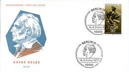 """Westberlin Schmuck-FDC Mi.543 """"100.Geburtstag Von Georg Kolbe"""" ESSt 14.4.77 BERLIN 12 - FDC: Covers"""
