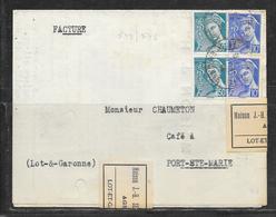 LOT 1812252 - N° 546.549 SUR LETTRE FACTURE DE AGEN DU 08/11/44 POUR PORT SAINTE MARIE - MAISON J.H SECRESTAT - 1921-1960: Modern Period