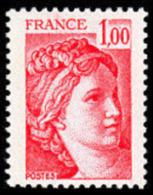 France Sabine De Gandon N° 1972 ** Le 1.00 Fr. Rouge - 1977-81 Sabine (Gandon)