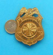 US NACom FIRE DEPARTMENT - FIRE CHIEF - Original Tin Badge LARGE SIZE Fire Department Brigade Feuerwehr Sapeurs Pompiers - Firemen