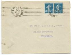 ENVELOPPE SEMEUSE / PARIS 81 R DES CAPUCINES / 1922 POUR BRUXELLES BELGIQUE - Postmark Collection (Covers)