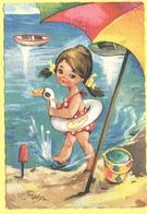 Tematica - Bambini - 1970 - 40 Siracusana - Bambina In Spiaggia - Viaggiata Da Predazzo Per  Predazzo - Disegni Infantili