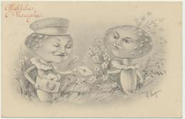 Neujahr - Pilze - Mushroom Künstlerkarte Signiert - Anno Nuovo