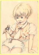 Tematica - Bambini - Bambina Che Tiene In Mano Un Uccellino - Not Used - Disegni Infantili