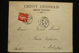 Perfin France Semeuse Perforé CL238 Sur Lettre Crédit Lyonnais Agence Aurillac 1912 - France