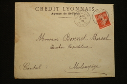 Perfin France Semeuse Perforé CL243 Sur Lettre Crédit Lyonnais Agence St Flour 1912 - France