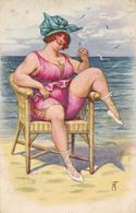 BAIGNEUSE / GROSSE FEMME FUMANT Sur PLAGE / FAT SMOKING BATHING WOMAN - ILLUSTRATION : ARTHUR THIELE ~ 1930 (aa315) - Thiele, Arthur