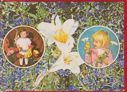 CHILDREN FLOWERS LILY BIRD CHICKEN ROMANIA STATIONERY 1976 - Puppen