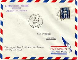 Aérophilatélie-1ère Liaison Postale Aérienne Par Air-France ALGER-OUARGLA-cachet D'alger Du 26.2.53 - Luftpost