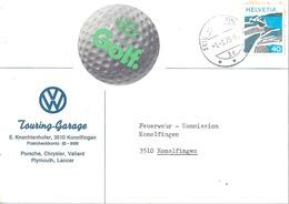 """Motiv Brief  """"VW Touring Garage Knechtenhofer, Konolfingen""""  (Label GOLF)         1976 - Suiza"""