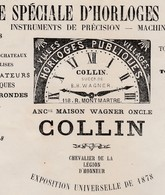 Facture 1880 / COLLIN / Fabrique Horloges Simplifiées / Girouettes Métronomes / Rue Montmartre / 75 Paris - France