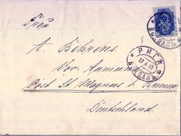 1909 , LETONIA , SOBRE COMERCIAL CIRCULADO ENTRE RIGA Y BREMEN, MAT. ESTACIÓN DE FERROCARRIL - Letonia