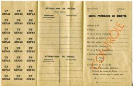 A Voir 39 - 45 Carte Provisoire  Sinistre  24 Repas Vierge 39 - 45 WW2 -3 Volets - Documents Historiques