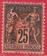 France N°91 Sage 25c Noir Sur Rouge (type II N Sous U) 1878 (oblitération Rouge Des Imprimés) O - 1876-1898 Sage (Tipo II)