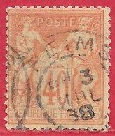 France N°94 Sage 40c Orange (type II N Sous U) 1881 (REIMS 3 JUIL 88) O - 1876-1898 Sage (Type II)