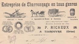 Facture 1913 / P. RICHEUX / Charronnage / 61 Tourouvre/ Orne - 1900 – 1949