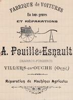 Facture 1911 / A. POUILLE ESNAULT / Charron Forgeron / 61 Villers En Ouche / Orne - France