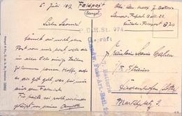 1917 , LETONIA , TARJETA POSTAL CIRCULADA , FELDPOST , CORREO DE CAMPAÑA , FRANQUICIA Y MARCA DE CENSURA - Letonia