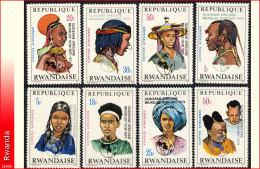 Rwanda 0553/60**  Coiffes Surchargées  MNH - Ruanda