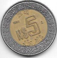 Mexico 5 Pesos 1992  Km 552  Vf - Mexique