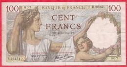 """100 Francs """"Sully"""" Du 20/11/1941.PT----F/TTB+---Série R.26251----AUCUN TROU D EPINGLE - 1871-1952 Circulated During XXth"""