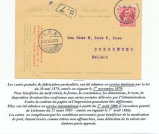 445DT - Carte Privée - Sans Aucune Empreinte De Timbre - Modèle De L' Entier 5 C , Affranchie TP Grosse Barbe BXL 1911 - Stamped Stationery