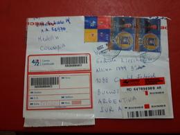 La Colombi Enveloppe Circulé Avec Une Grande Quantité De Timbres - Colombia