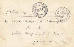 447DT - Carte En Franchise IXELLES 18 VIII 1914 Vers Soldat 3é Division Postes Militaires Belges 3 Du 21 VIII 1914 - Invasion