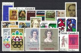 Canada 1973, Lot Of 22 Stamps **, MNH - 1952-.... Regering Van Elizabeth II