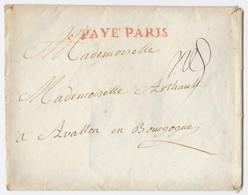 Enveloppe Cachetée De PARIS à AVALLON (Bourgogne) Cachet Rouge PAYE PARIS + Cachet Cire Au Dos - 1776 - Manuscrits