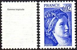 France Sabine De Gandon N° 1963,a ** Le 0.02fr Bleu Violet - Variété Gomme Tropicale - 1977-81 Sabine (Gandon)