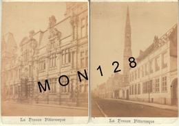 LA FRANCE PITTORESQUE - ARRAS -2 PHOTOS COLLEES SUR CARTON DUR 5,5x9,5 Cms-PHOTOGRAPHE VAN THOFF ARRAS - Old (before 1900)