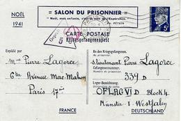 1942-  E P  PETAIN 5 Frs  Salon Du Prisonnier Adressé à L'Oflag VI D  Avec Censure - Marcophilie (Lettres)