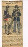 Rare Coupure De Journal.Uniforme De Gendarmes En 1887.  (2) - Uniformes